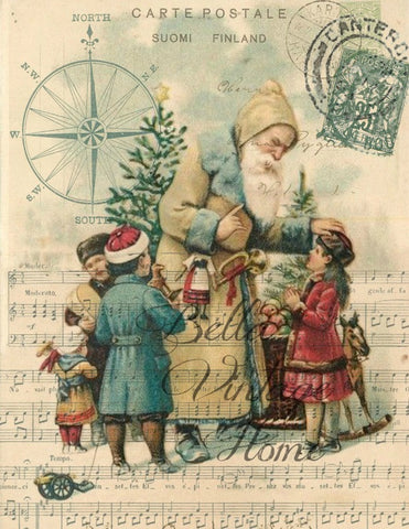 Vintage Art Collection Paper  Christmas Santa with Children  Print,  Pillow, Note Cards, Tea Towel - BELLAVINTAGEHOME