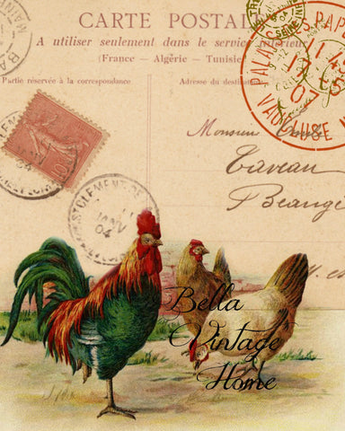 Carte Postale  Rooster Print,  Pillow, Note Cards, Tea Towel, Digital Download - BELLAVINTAGEHOME