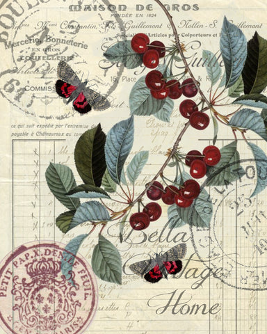 Botanical   Red Cherry  Print,  Pillow, Note Cards, Tea Towel - BELLAVINTAGEHOME