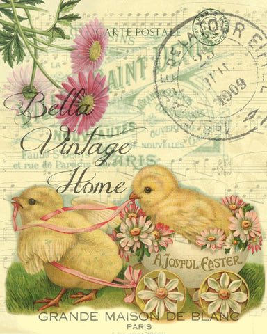 Chicks in Cart  Print, Pillow, Note Cards, Tea Towel