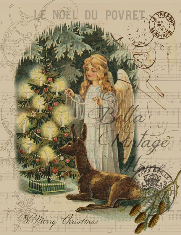 Vintage Art Collection Paper  Angel with Deer Print,  Pillow, Note Cards, Tea Towel, Digital Download - BELLAVINTAGEHOME