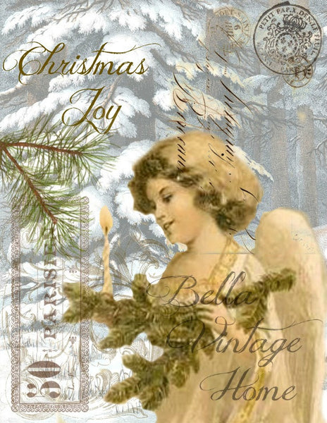 Vintage Art Collection Paper  Christmas Joy Angel  Print,  Pillow, Note Cards