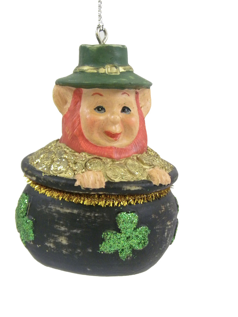 Elf in Shamrock Pot Ornament