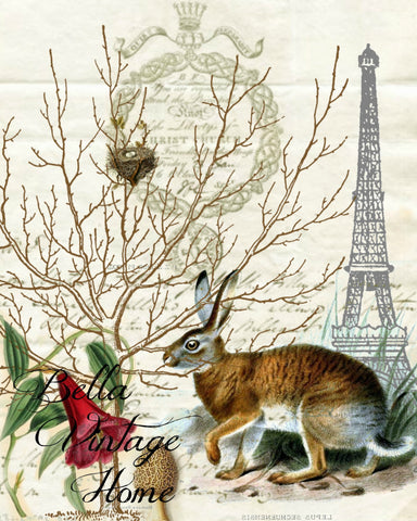 Eiffel Tower Rabbit Print,  Pillow, Note Cards, Tea Towel, Digital Download - BELLAVINTAGEHOME