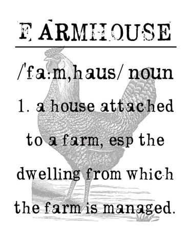 Farmhouse Definition  Print,  Pillow, Note Cards, Tea Towel, Digital Download - BELLAVINTAGEHOME