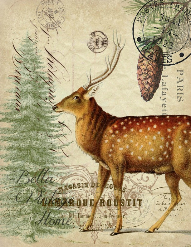 Vintage Art Collection Paper Christmas Deer Print, Pillow, Note Cards