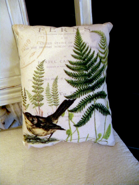 Bird and Fern  Print,  Pillow, Note Cards