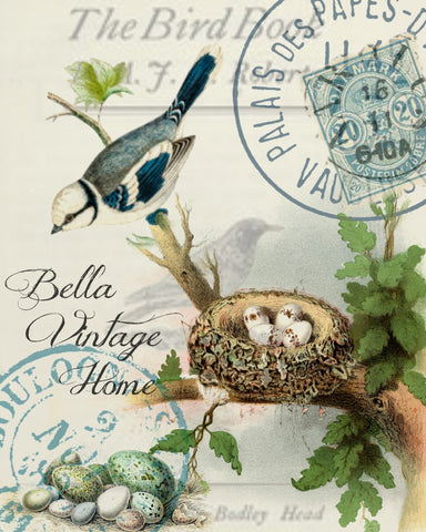 Botanical Blue Bird with Nest Print, Pillow, Note Cards, Tea Towel - BELLAVINTAGEHOME
