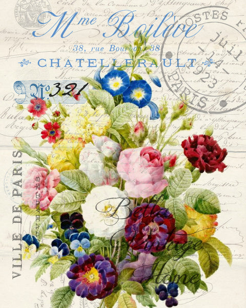 Botanical French Floral Bouquet Print, Pillow, Note Cards, Tea Towel, Digital Download - BELLAVINTAGEHOME