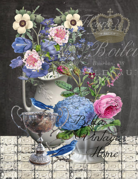 French Floral's with Blue Bird's Print, Pillow, Note Cards, Tea Towel, Digital Download - BELLAVINTAGEHOME