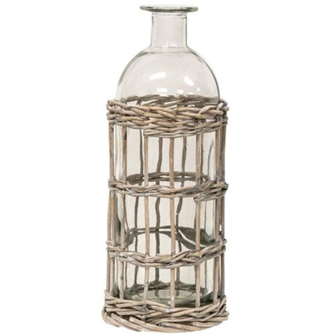 "Grey washed Willow Wrapped Bottle 9"" - BELLAVINTAGEHOME"
