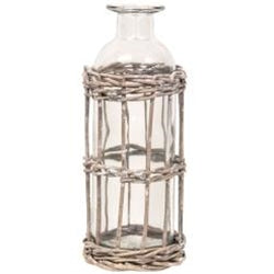 "Grey washed Willow Wrapped Bottle 6.5"""" - BELLAVINTAGEHOME"