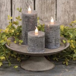 Vintage Textured Grey Metal  Candle Tray - BELLAVINTAGEHOME