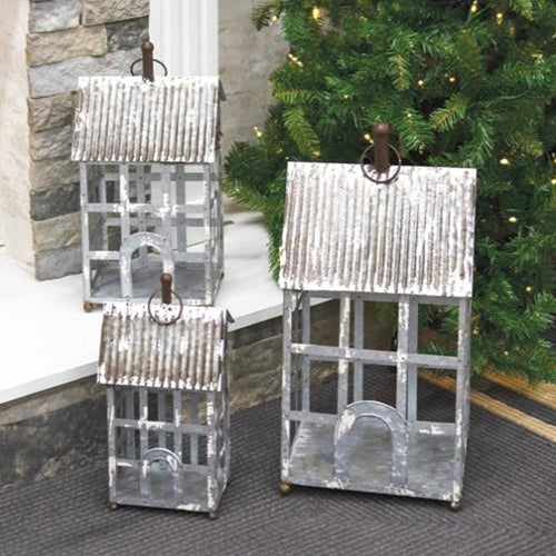 White Washed Metal Homestead Lanterns - BELLAVINTAGEHOME