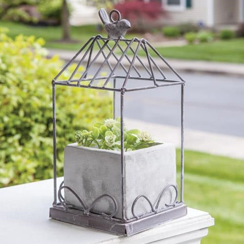 Grey Wash Metal Birdcage with Cement Planter  NEW! - BELLAVINTAGEHOME