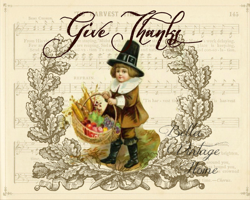 Paper Give Thanks Pilgrim Print,  Pillow, Note Cards, Tea Towel, Digital Download - BELLAVINTAGEHOME