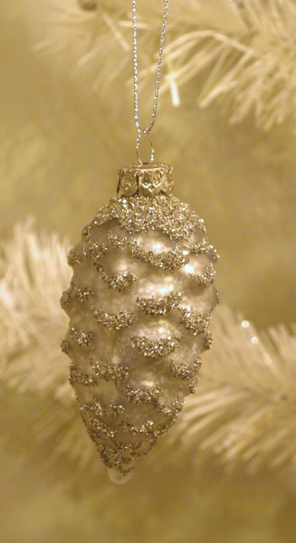 SET OF 3 Glitter Pinecone Ornaments - BELLAVINTAGEHOME