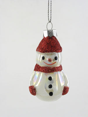 Mercury Glass Snowman Ornament - BELLAVINTAGEHOME