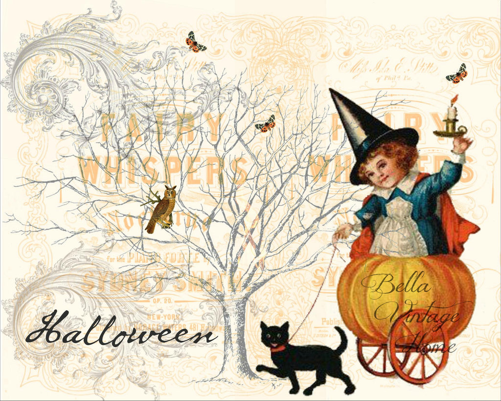 "Halloween girl with Cart ""Fairy Whispers"" Print,  Pillow, Note Cards, Tea Towel"
