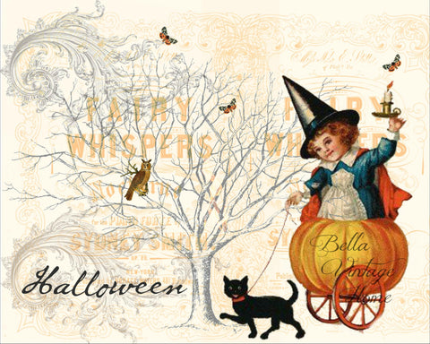 "Halloween girl with Cart ""Fairy Whispers"" Print,  Pillow, Note Cards,  Tea Towel, Digital Download - BELLAVINTAGEHOME"