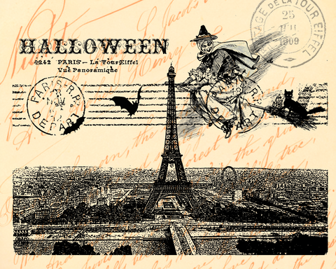 Halloween Paris Witch Print,  Pillow, Note Cards, Tea Towel, Digital Download - BELLAVINTAGEHOME