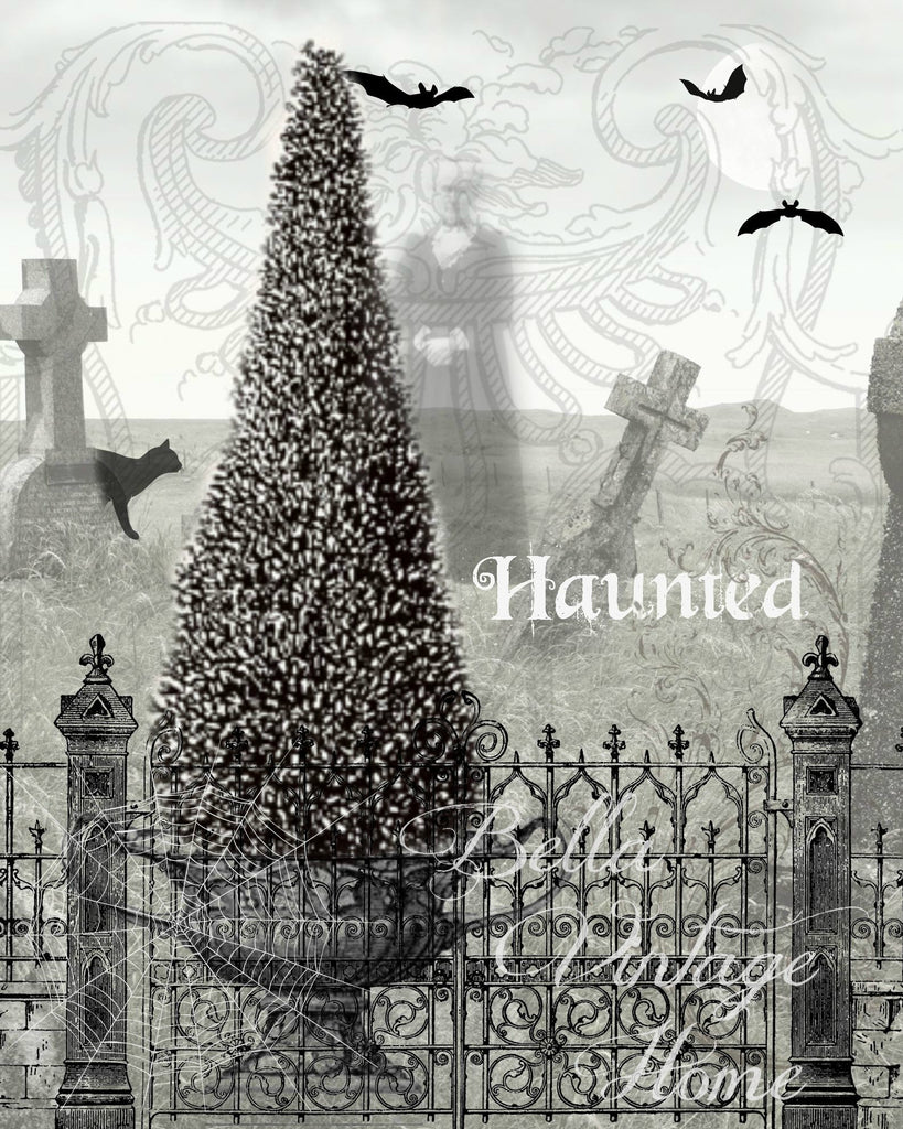 Gothic Haunted Graveyard Print,  Pillow, Note Cards, Tea Towel