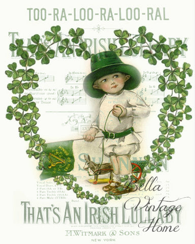 Irish Lullaby Print, Pillow, Note Cards, Tea Towel, Digital Download - BELLAVINTAGEHOME