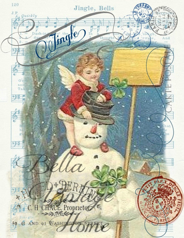 Vintage Art Collection Paper  Christmas Jingle Bell Snowman Print,  Pillow, Note Cards, Tea Towel, Digital Download - BELLAVINTAGEHOME