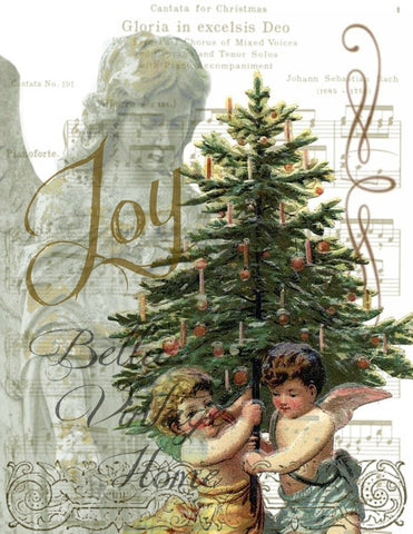 Vintage Art Collection Paper  Christmas Joy Angels Print,  Pillow, Note Cards, Tea Towel - BELLAVINTAGEHOME