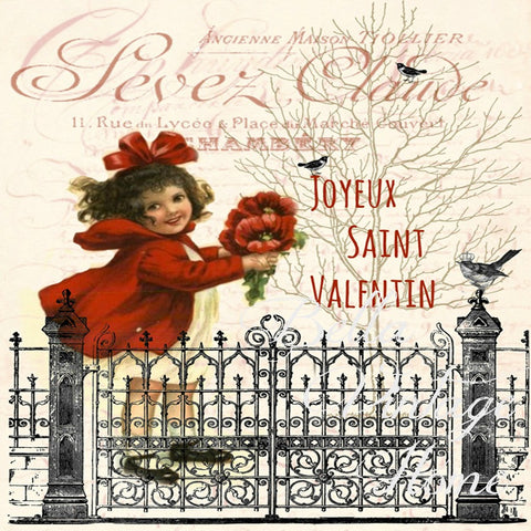 A Joyeux Saint Valentin Print, Pillow,Note Cards, Tea Towel, Digital Download - BELLAVINTAGEHOME
