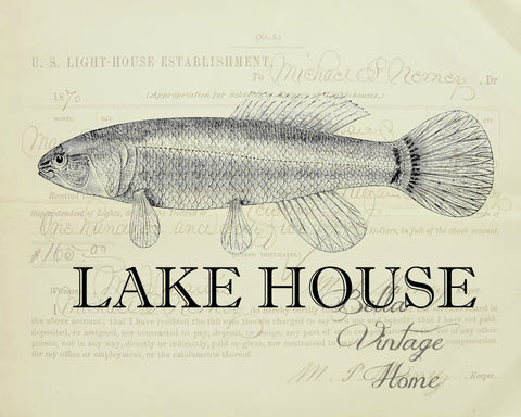 Lake House Print,  Pillow, Note Cards, Tea Towel