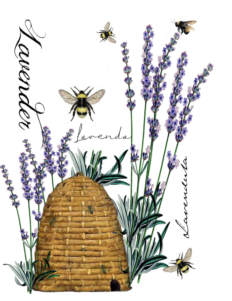Insect Tea  Towel   Bees and Lavender