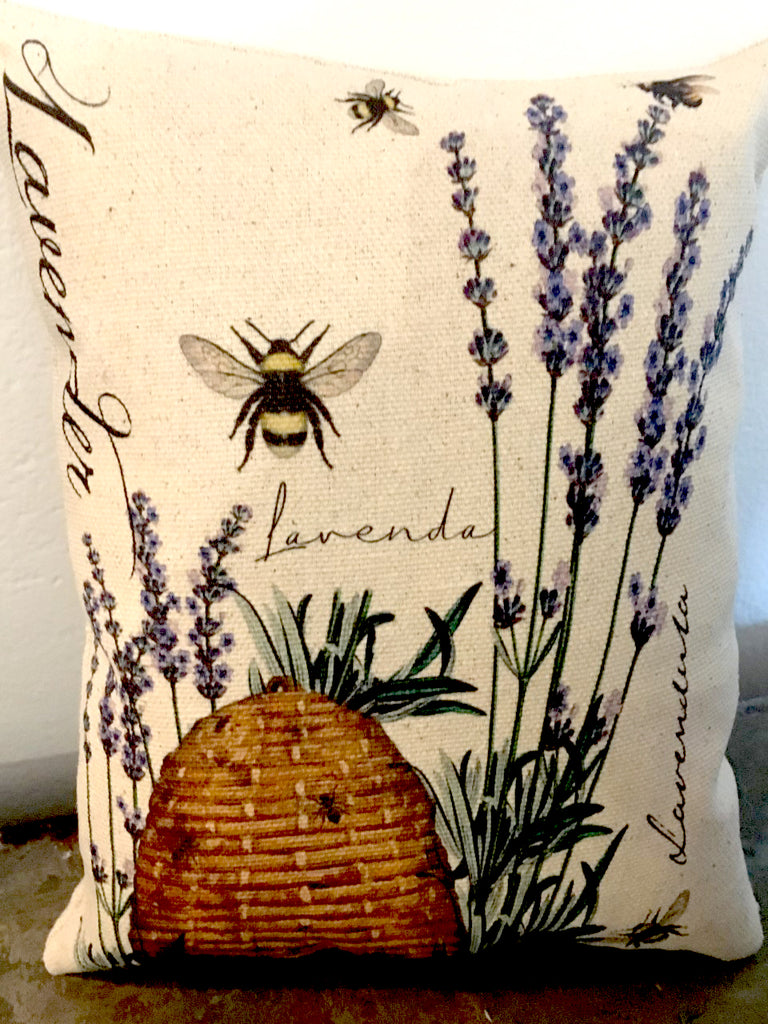 French Lavender  & Bee Accent Pillow - BELLAVINTAGEHOME