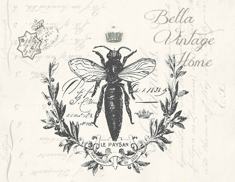 Botanical French Bee Print,  Pillow, Note Cards,  Tea Towel, Digital Download - BELLAVINTAGEHOME