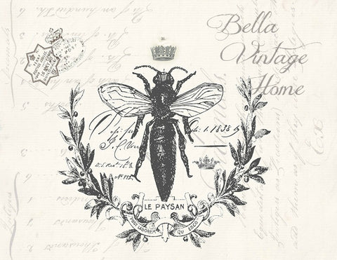Botanical French Bee Print,  Pillow, Note Cards, Tea Towel