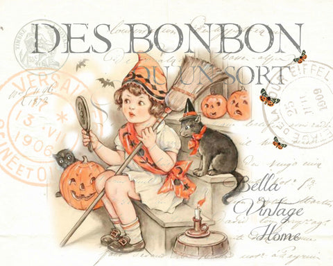 Trick or Treat Little Girl Print,  Pillow, Note Cards, Tea Towel, Digital Download - BELLAVINTAGEHOME