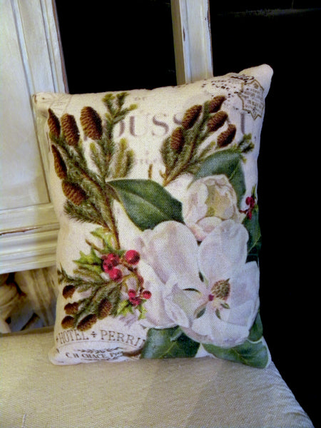 Vintage Art Collection Paper  Christmas Magnolia Print,  Pillow, Note Cards, Tea Towel, Digital Download - BELLAVINTAGEHOME