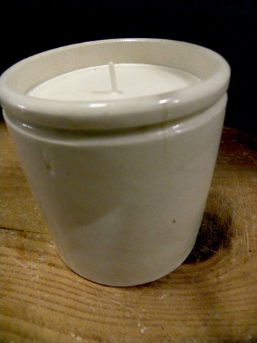 Plain Ironstone  English Marmalade Pot with Candle - BELLAVINTAGEHOME