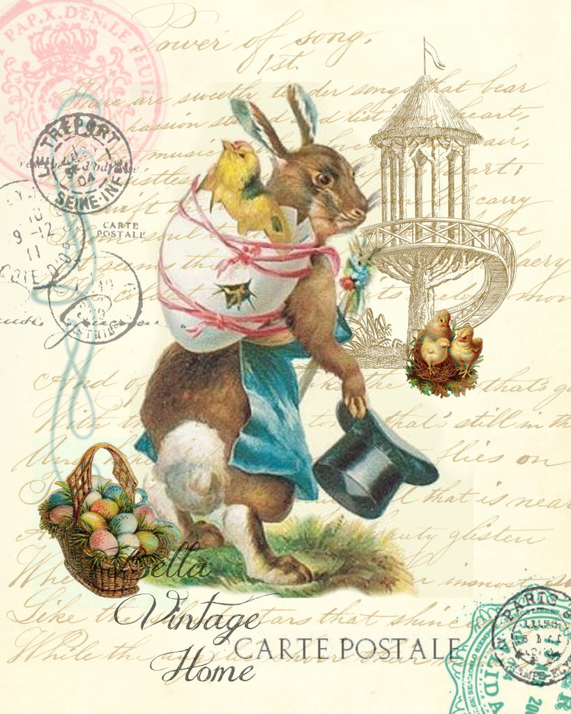 Mother Rabbit with Chick Easter Print,  Pillow, Note Cards, Tea Towel