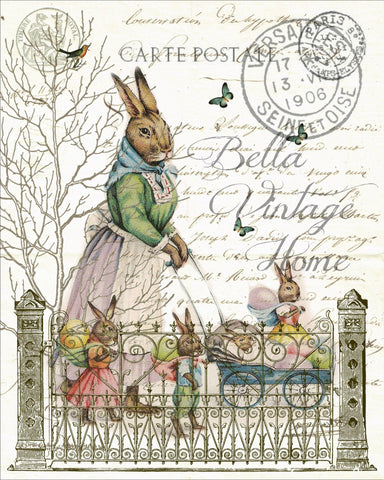 Mother Rabbit with Babies Print, Pillow,Note Cards, Tea Towel