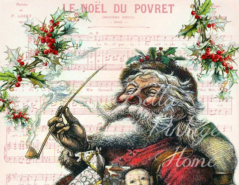 Vintage Art Collection Paper  Christmas Jolly Santa Print,  Pillow, Note Cards, Tea Towel - BELLAVINTAGEHOME