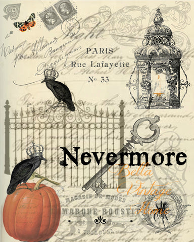 Nevermore Print,  Pillow, Note Cards, Tea Towel, Digital Download - BELLAVINTAGEHOME