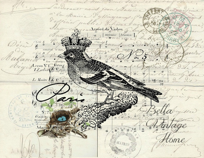 Paris Bird 2 Print,  Pillow, Note Cards, Tea Towel