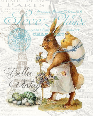 Mother Rabbit in Paris Print, Pillow, Note Cards, Tea Towel