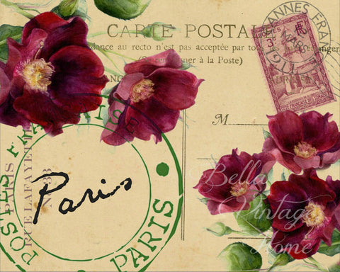 Botanical Paris Roses Print, Pillow, Note Cards, Tea Towel