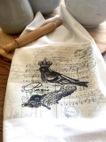 Bird Tea Towel Paris Bird 2 - BELLAVINTAGEHOME