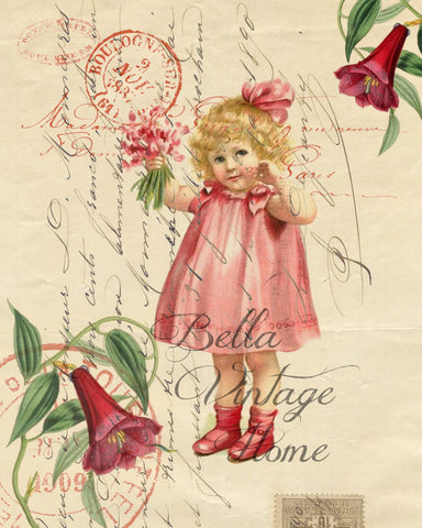Valentine-Pretty In Pink Valentine Girl Print, Pillow, Notecards, Tea Towel, Digital Download - BELLAVINTAGEHOME