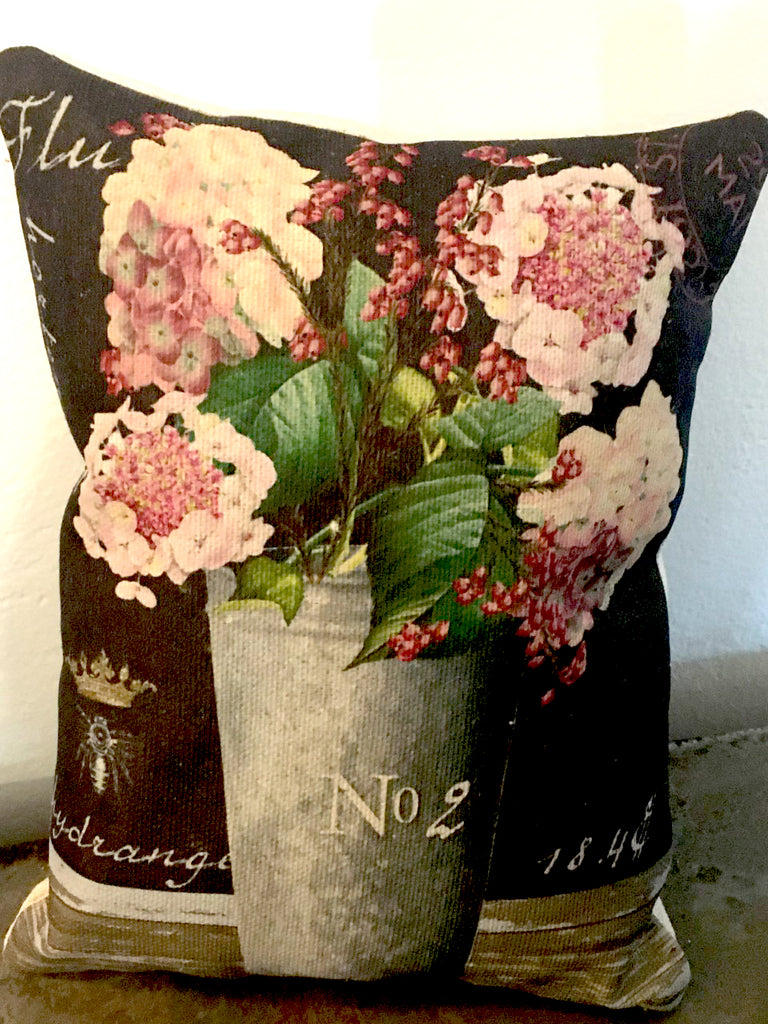 Pink Hydrangea  Accent Pillow - BELLAVINTAGEHOME