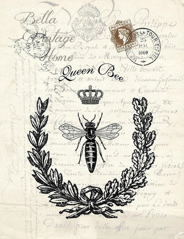 Botanical Queen Bee Print,  Pillow, Note Cards, Tea Towel, Digital Download - BELLAVINTAGEHOME