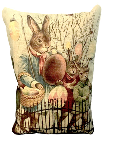 Rabbit Parade Accent Pillow - BELLAVINTAGEHOME